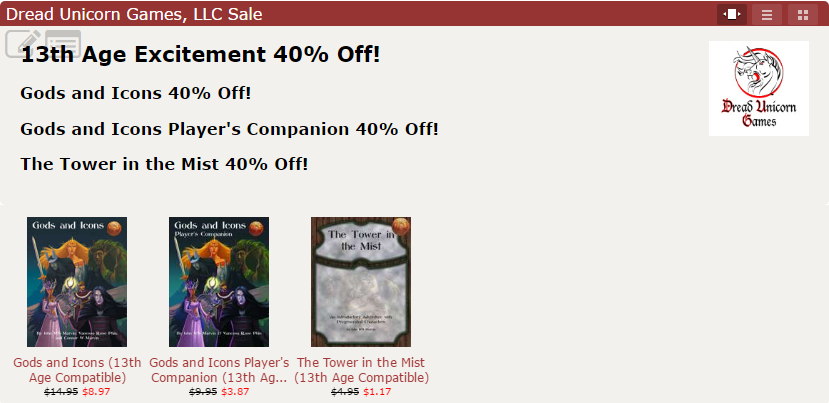 40 percent off 13th Age Excitement