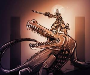 mind flayer on a giant croc